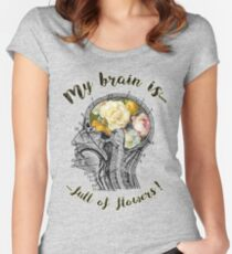 Brain Full Of Flowers Dictionary Art Women's Fitted Scoop T-Shirt