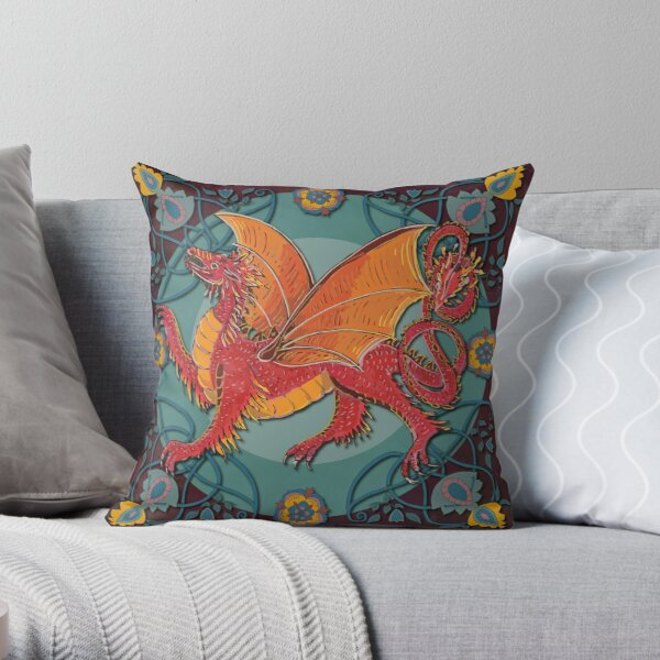 Celtic Medieval Fire Dragon Throw Pillow