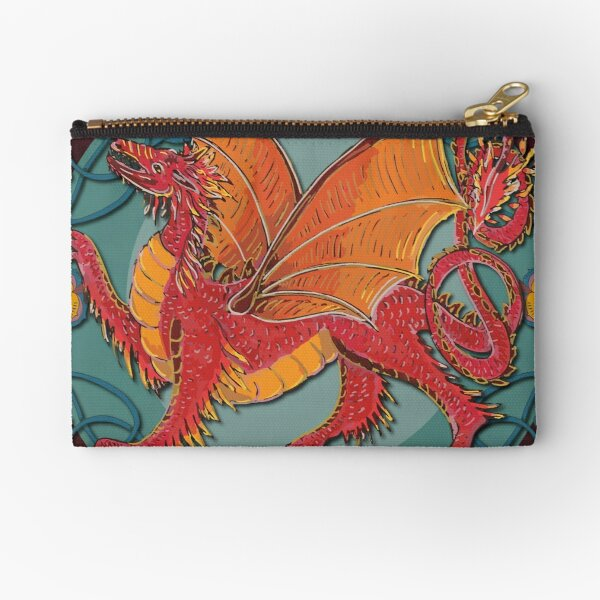 Celtic Medieval Fire Dragon Zipper Pouch