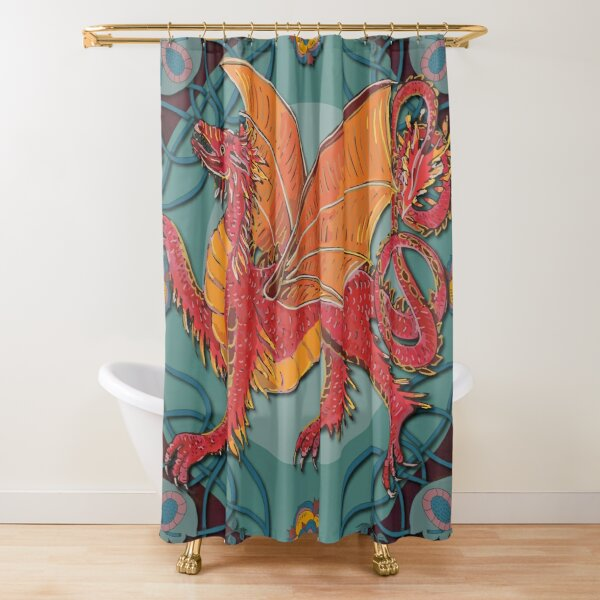 Celtic Medieval Fire Dragon Shower Curtain