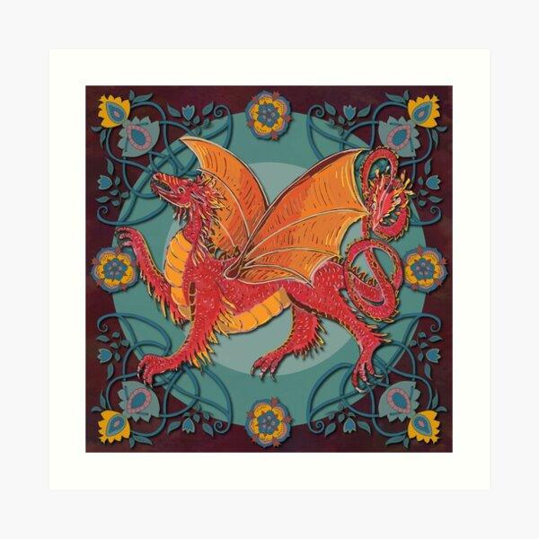 Celtic Medieval Fire Dragon Art Print