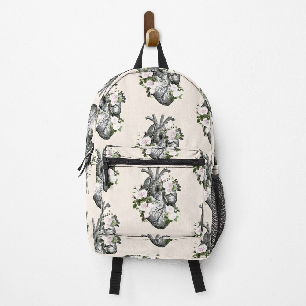 Human heart and roses, anatomy illustration art, lightpink roses and green leaves Backpack