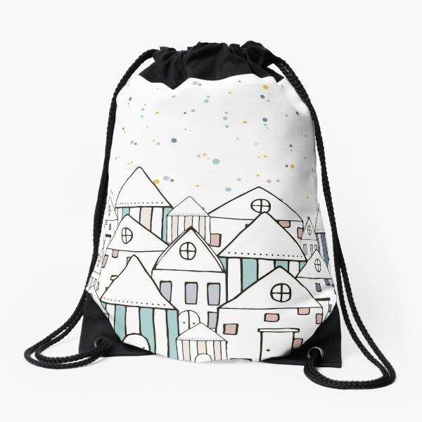 yellow illustrated summer product Drawstring Bag