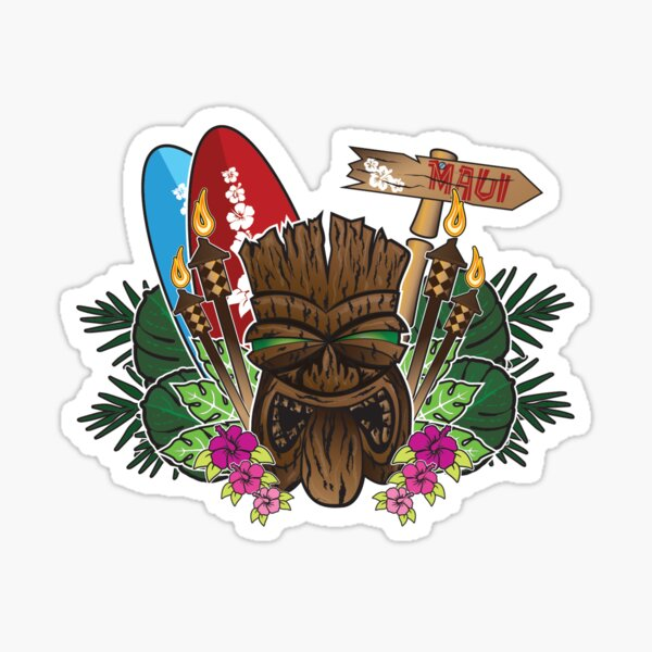 Maui bound tiki Sticker