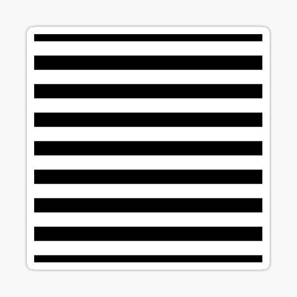 Solid Black and White Large Horizontal Cabana Tent Stripe Sticker