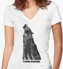 Tomb Raider - Lone Wolf Women's Fitted V-Neck T-Shirt
