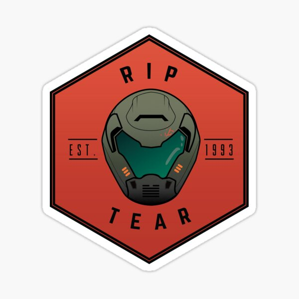 Doom Guy Helmet - RIP TEAR Sticker