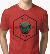Doom Guy Helmet - RIP TEAR Tri-blend T-Shirt