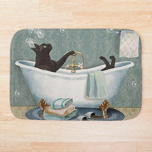 Black Cat Soap In bathroom Bath Mat