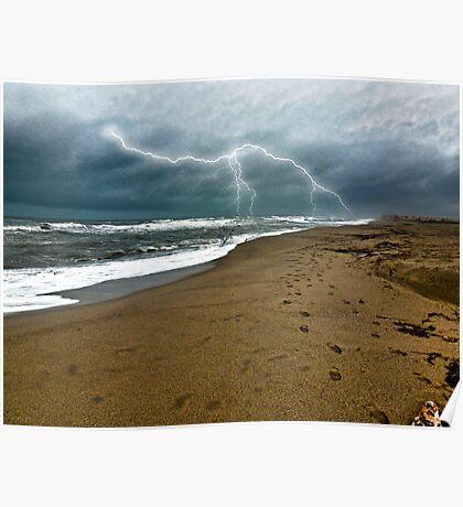 Wintery beach scene Poster