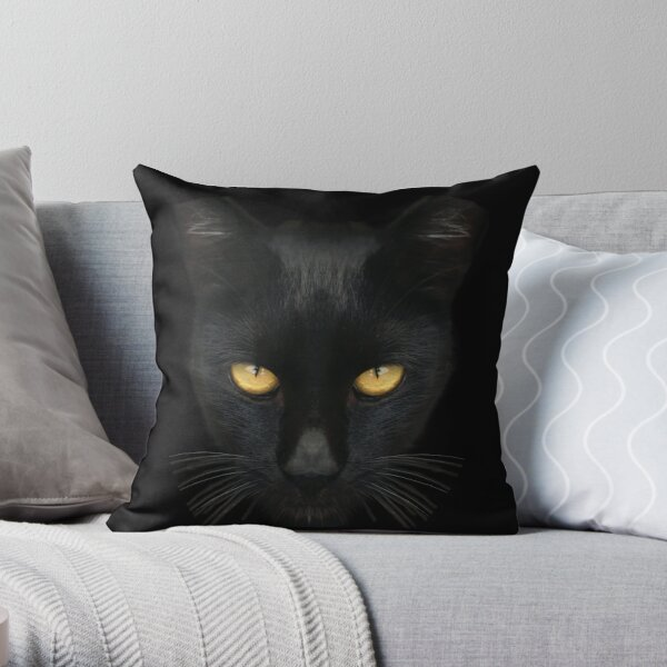 Black Cat With Yellow Eyes, Bombay Cat  Throw Pillow