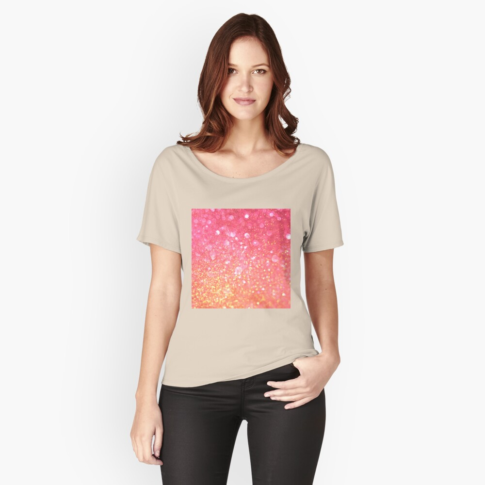 Glam,glitter,pink,orange,yellow,cute,girly,pattern Relaxed Fit T-Shirt