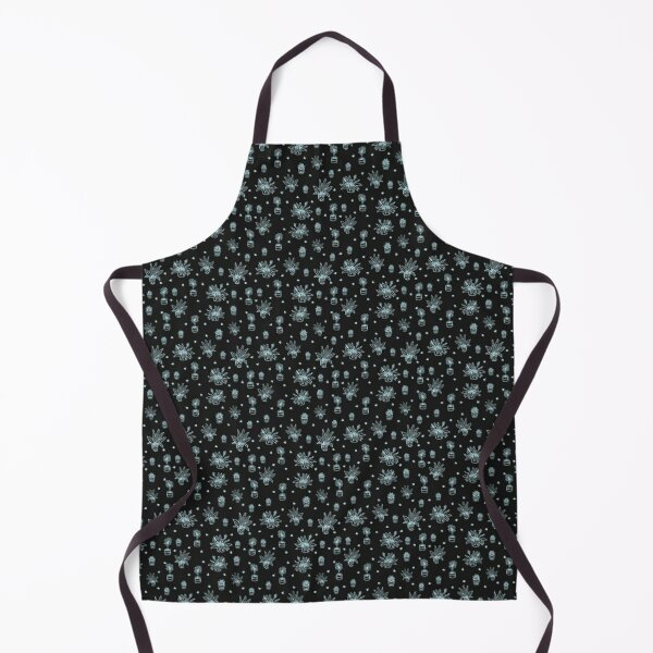 Potted Mint Home Flower Plant Doodles on Black Background Seamless with Black Liner Doodles Stickers Apron