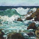 Tide coming in at Pandanus Cove - plein air by Terri Maddock