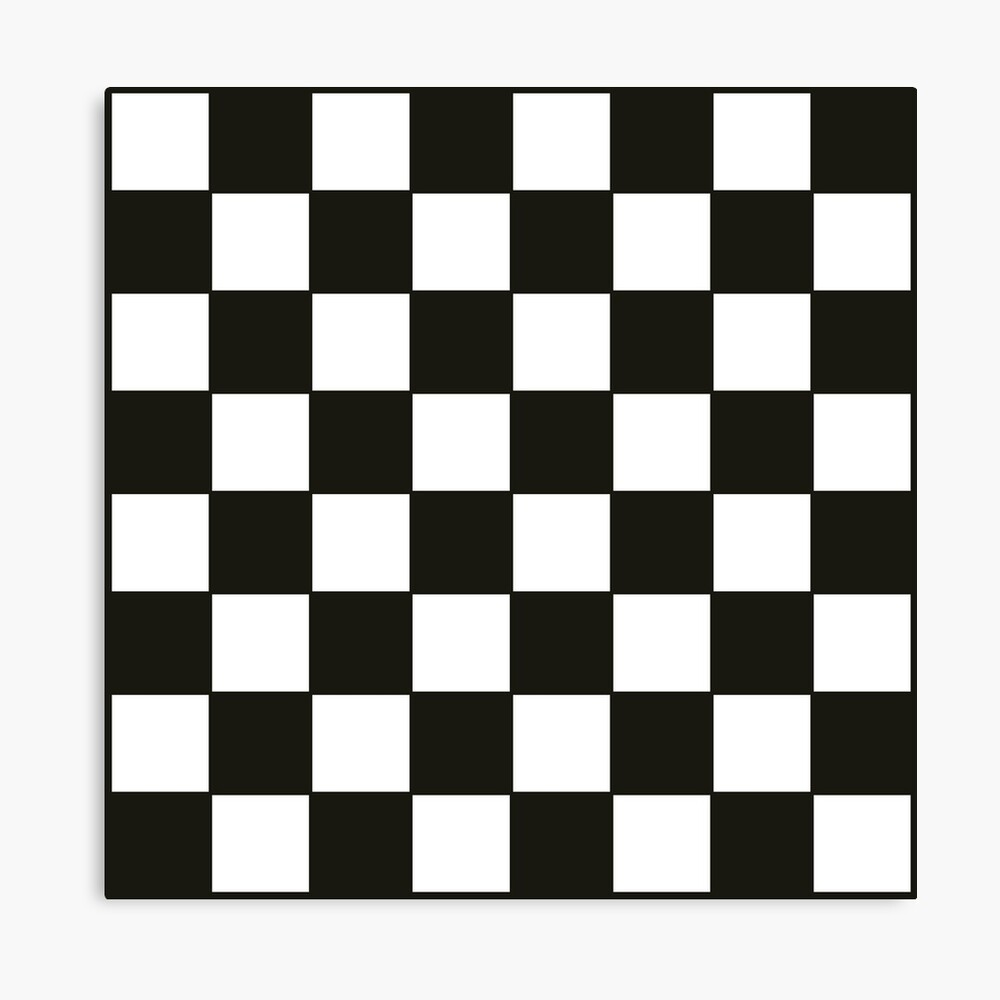 graphic about Printable Checkers Board named Black and White Checkers Board Canvas Print
