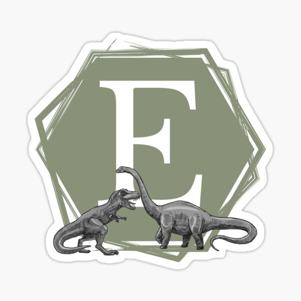 Green hexagon with initial E and two dinosaurs (t-rex and brontosaurus) Sticker
