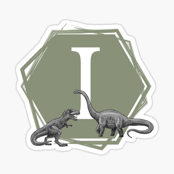 Green hexagon with initial I and two dinosaurs (t-rex and brontosaurus) Sticker