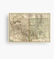 Vintage Map Of Arizona And New Mexico 1899 Metal Print