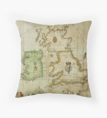 Vintage Map of The British Isles (1590) Throw Pillow