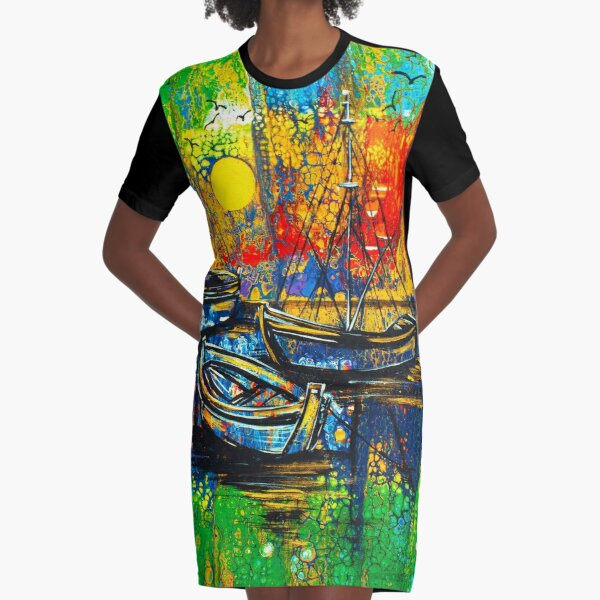 My Caribbean Aesthetic - Smooth Sailing Graphic T-Shirt Dress