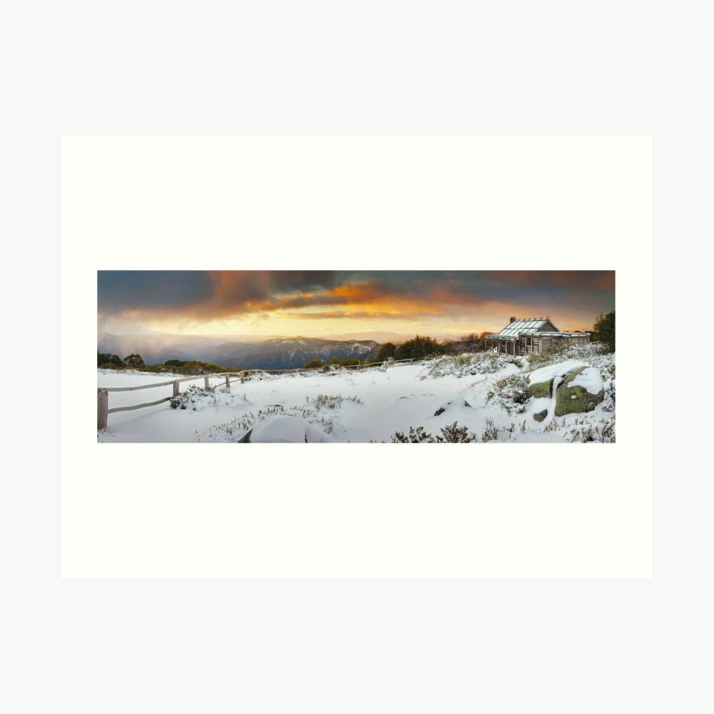 Craigs Hut Winter Sunset, Mt Stirling, Victoria, Australia Art Print