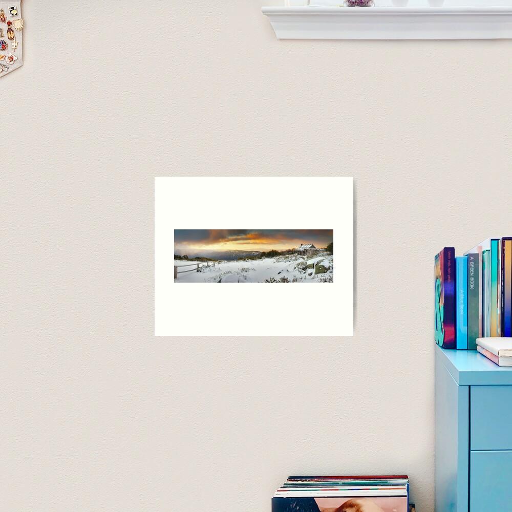 Craigs Hut Winter Sunset, Mt Stirling, Victoria, Australia Art Print