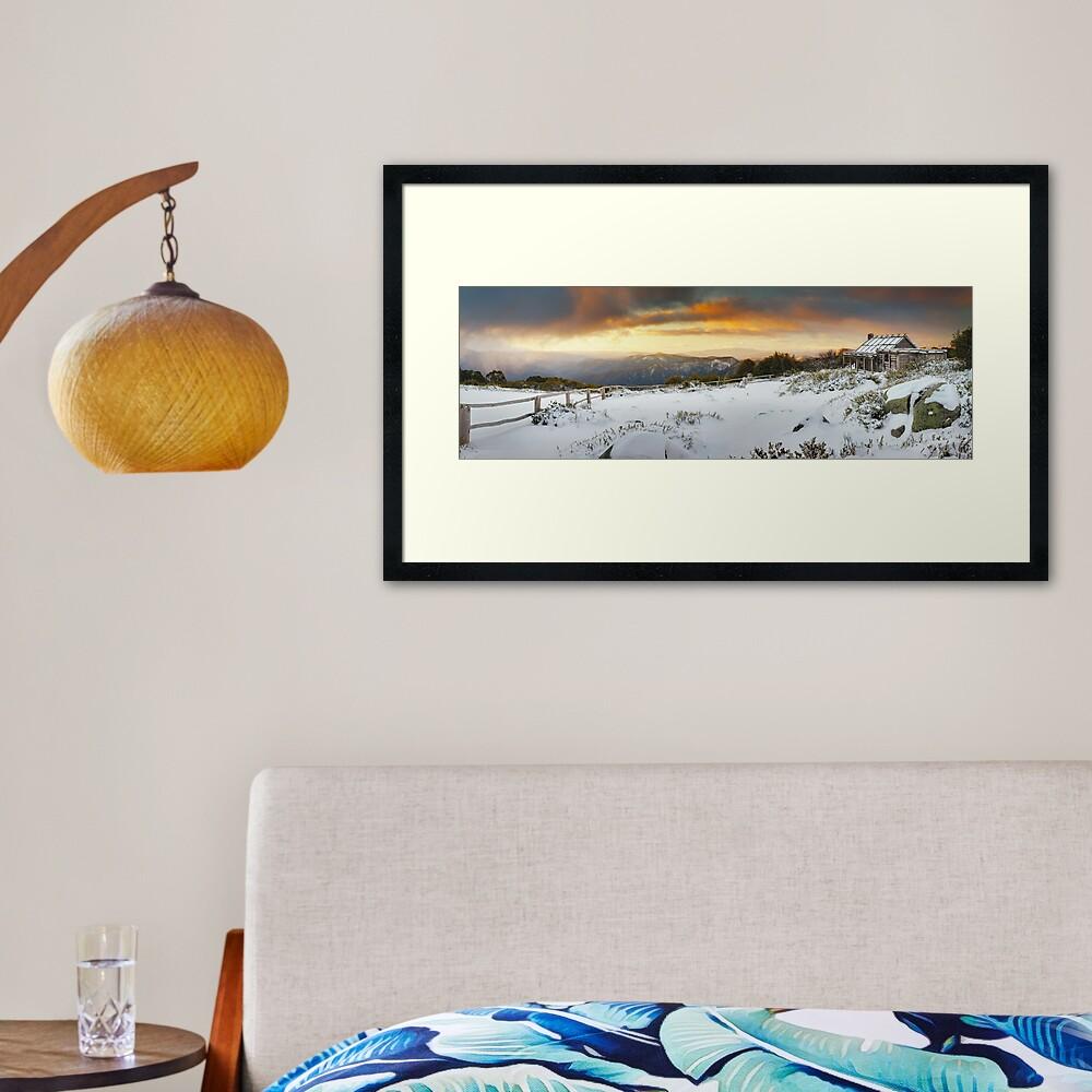 Craigs Hut Winter Sunset, Mt Stirling, Victoria, Australia Framed Art Print