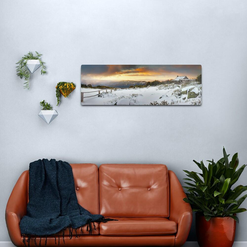 Craigs Hut Winter Sunset, Mt Stirling, Victoria, Australia Metal Print