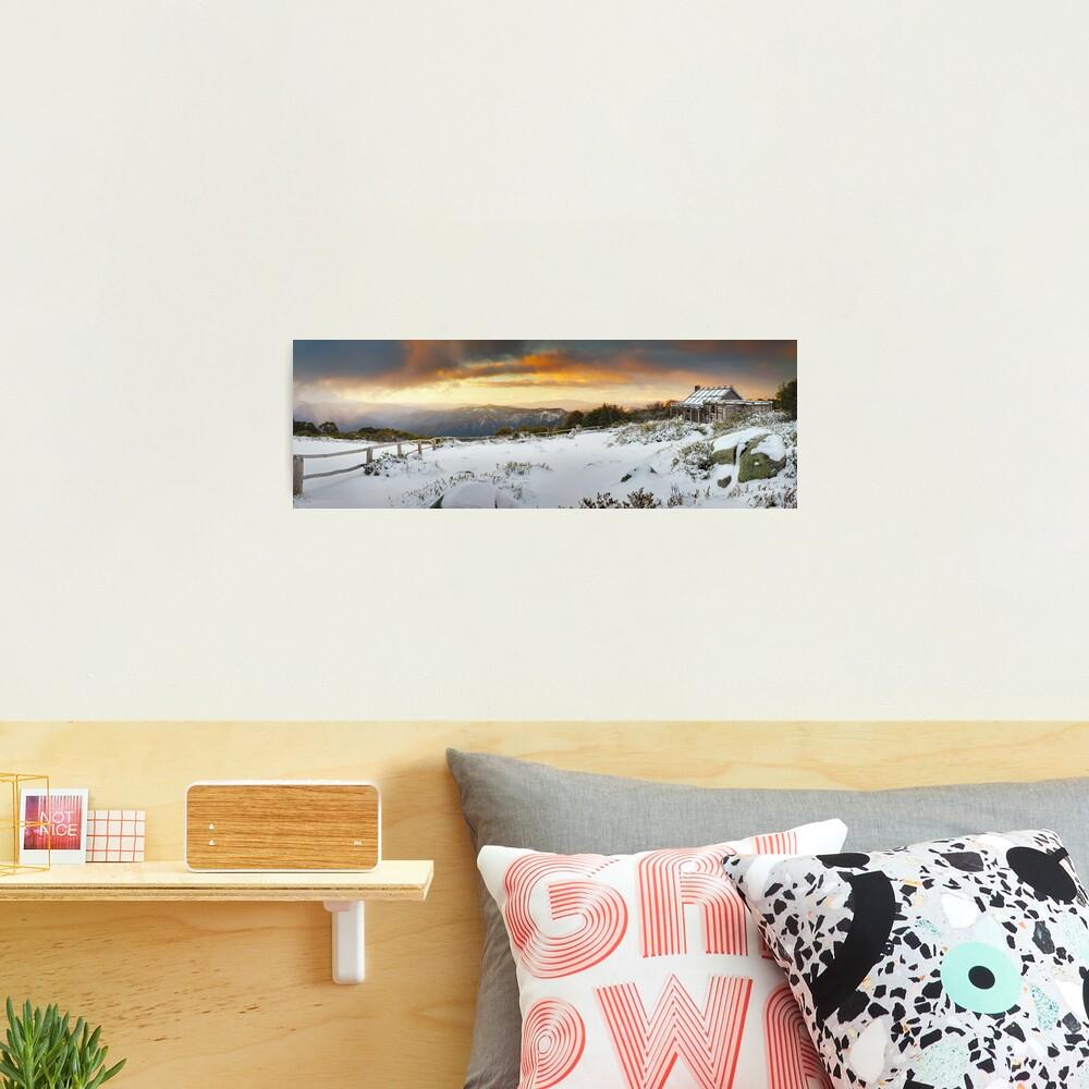 Craigs Hut Winter Sunset, Mt Stirling, Victoria, Australia Photographic Print