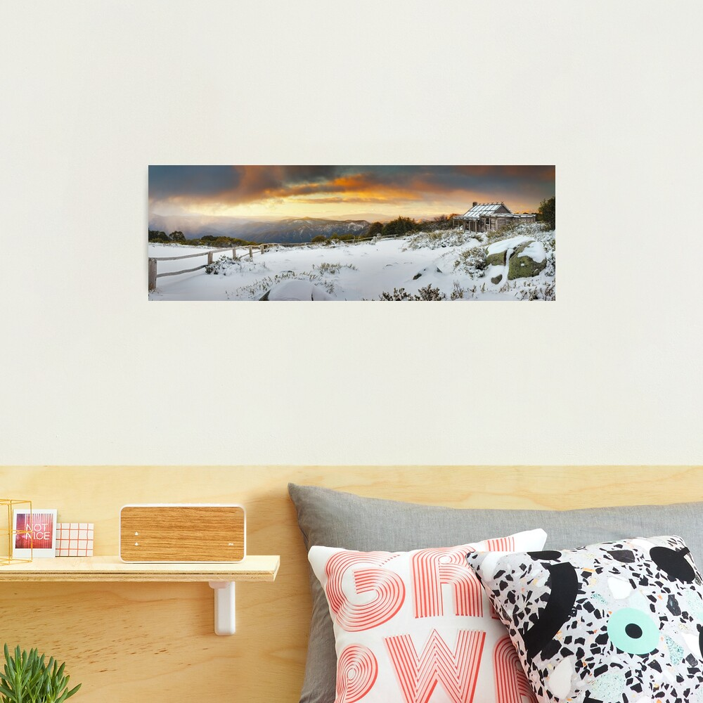 Craigs Hut Winter Sunset, Mt Stirling, Victoria, Australia Photographic Print