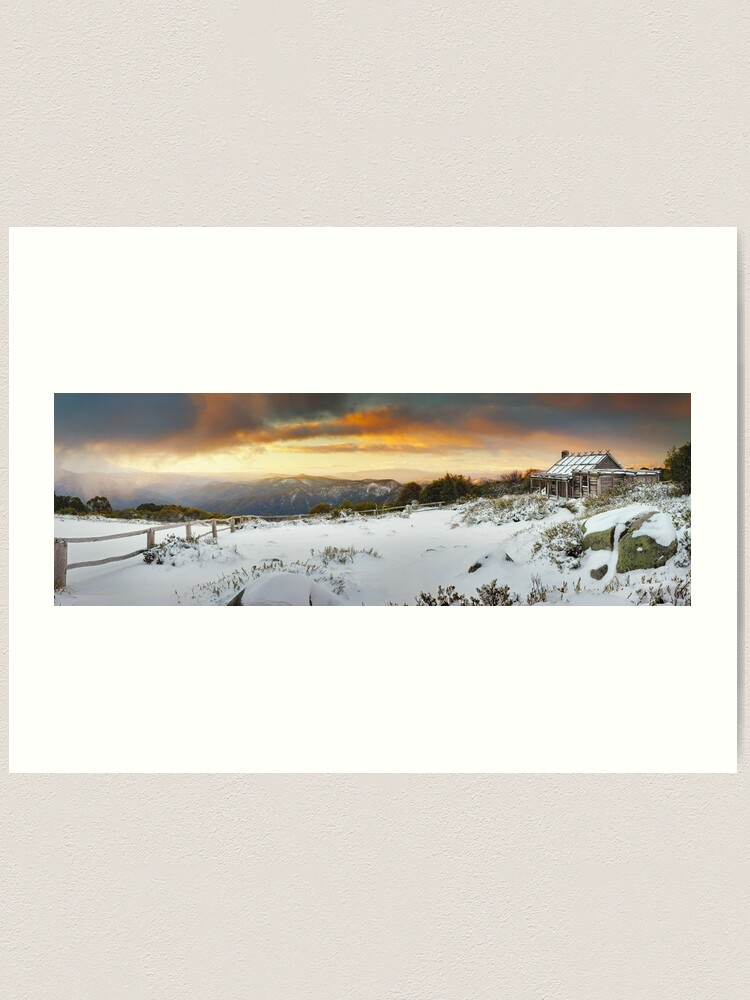 Alternate view of Craigs Hut Winter Sunset, Mt Stirling, Victoria, Australia Art Print