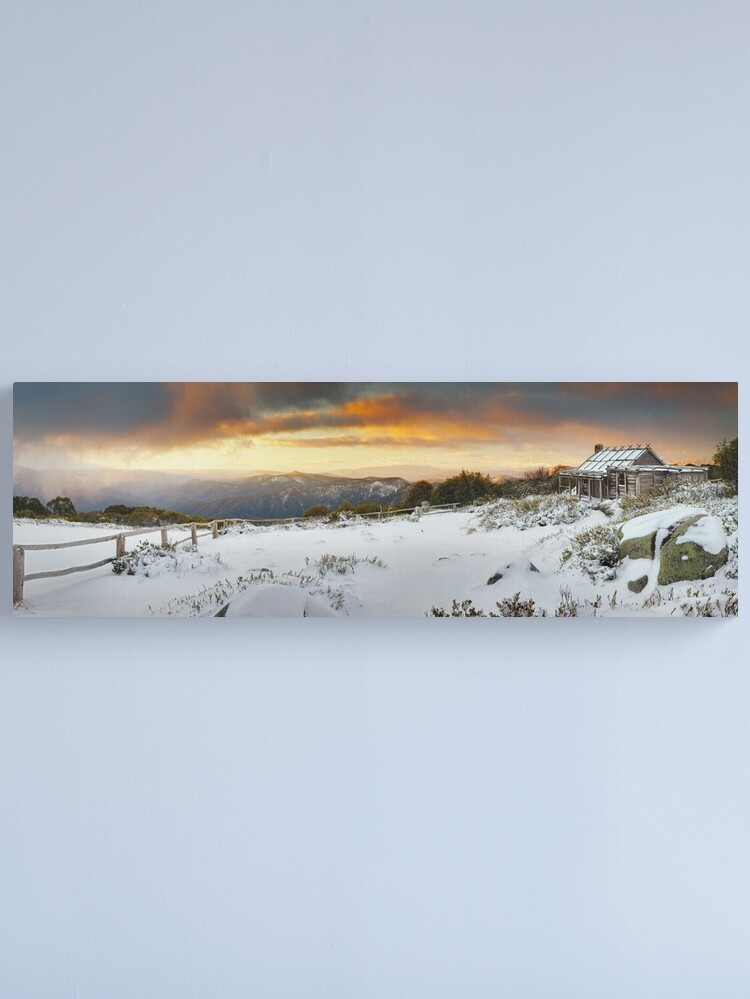 Alternate view of Craigs Hut Winter Sunset, Mt Stirling, Victoria, Australia Canvas Print