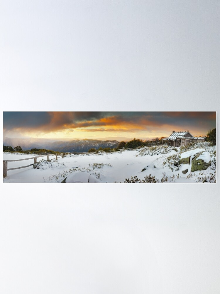 Alternate view of Craigs Hut Winter Sunset, Mt Stirling, Victoria, Australia Poster