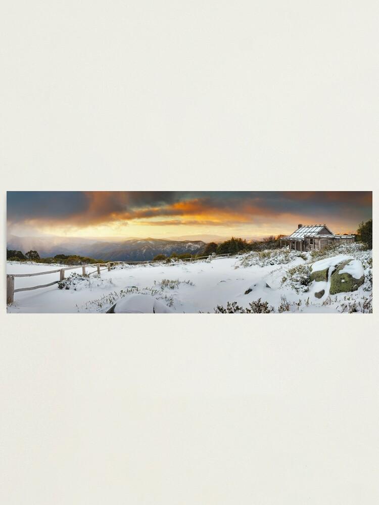 Alternate view of Craigs Hut Winter Sunset, Mt Stirling, Victoria, Australia Photographic Print