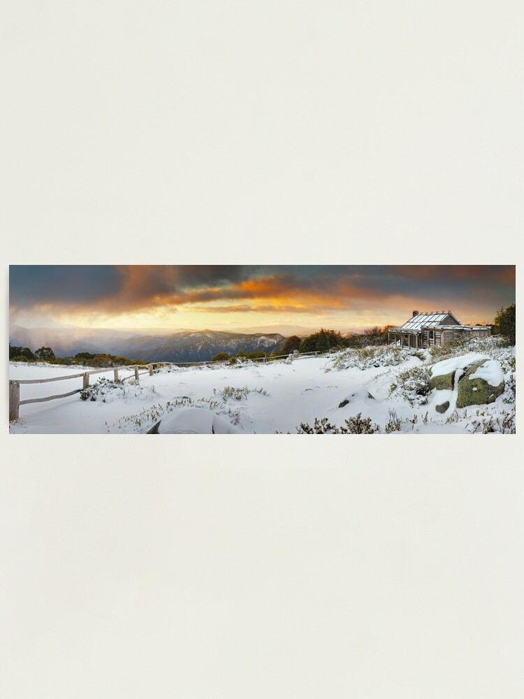 Alternate view of Craigs Hut Winter Sunset, Mt Stirling, Victoria, Australia Photographic Print