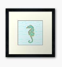 Stanley Seahorse riding the ocean waves Framed Print