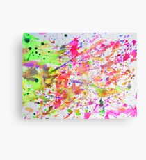 Fluorescent Paint Splatter Eighties Retro Pattern Canvas Print