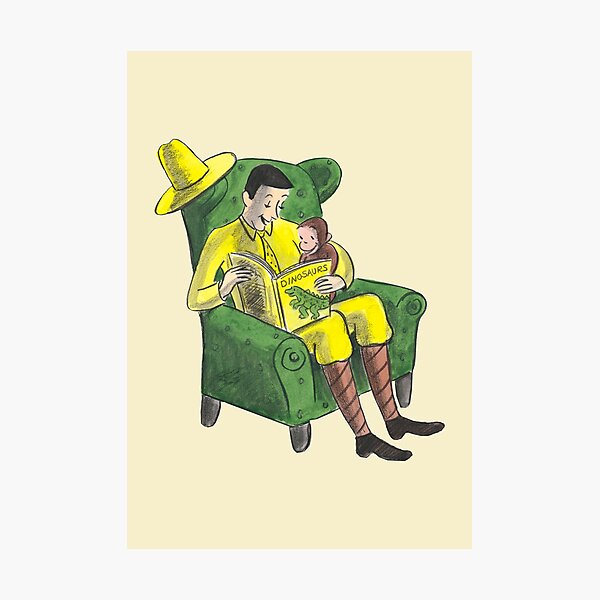 Curious George and the man with the big yellow hat Photographic Print