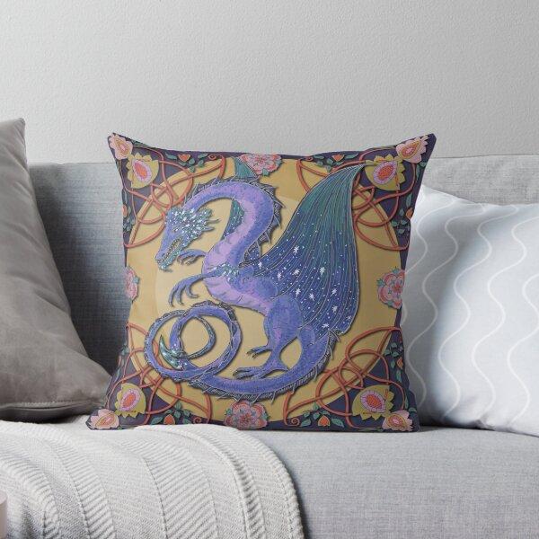 Celtic Medieval Celestial Sky Dragon Throw Pillow