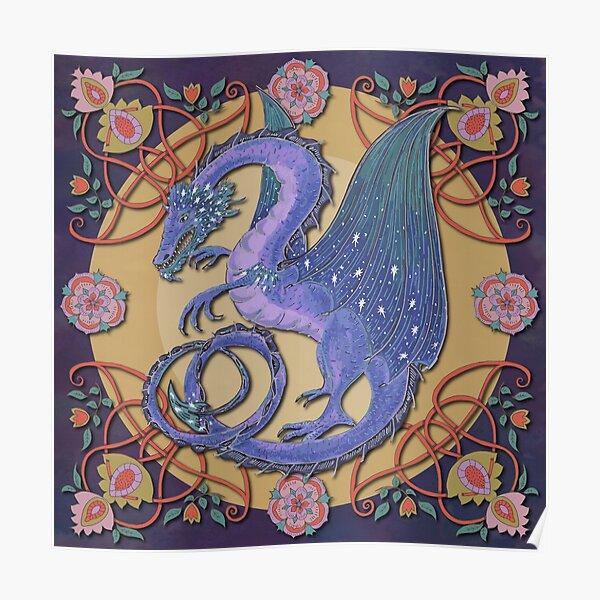 Celtic Medieval Celestial Sky Dragon Poster