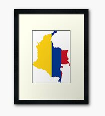 Colombia Flag Map Framed Print
