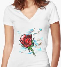 Red Rose in the Clouds Women's Fitted V-Neck T-Shirt