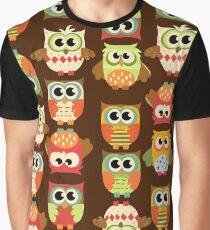 Adorable Retro Fall Owls Graphic T-Shirt