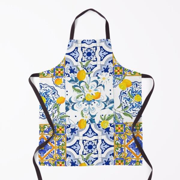 Summer,citrus,mosaic background ,Mediterranean style,lemon fruit pattern  Apron