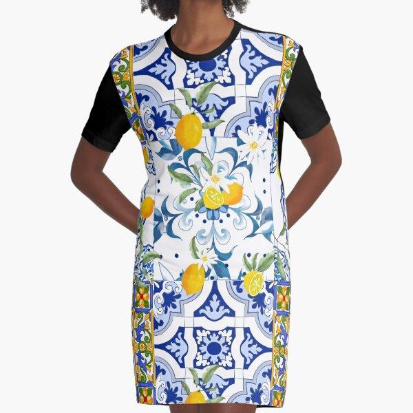 Summer,citrus,mosaic background ,Mediterranean style,lemon fruit pattern  Graphic T-Shirt Dress