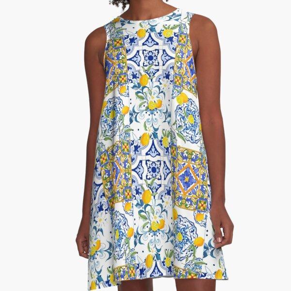 Summer,citrus,mosaic background ,Mediterranean style,lemon fruit pattern  A-Line Dress