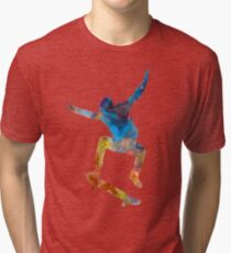 Man skateboard 01 in watercolor Tri-blend T-Shirt
