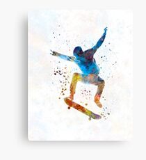 Man skateboard 01 in watercolor Canvas Print