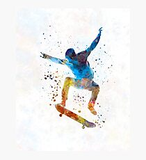 Man skateboard 01 in watercolor Photographic Print