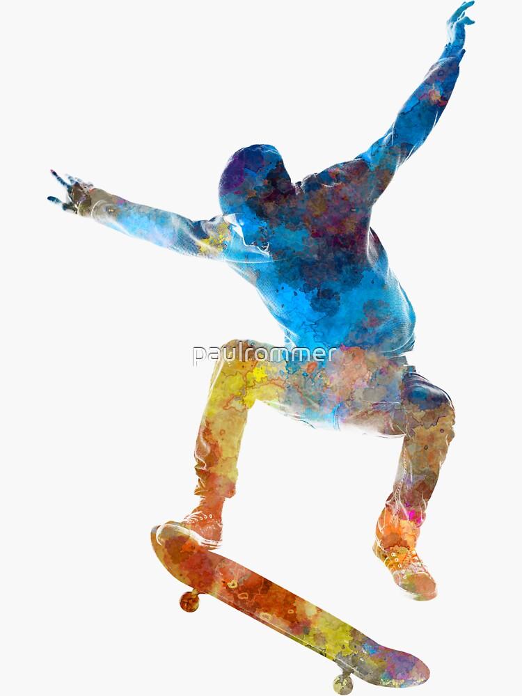 Man skateboard 01 in watercolor by paulrommer